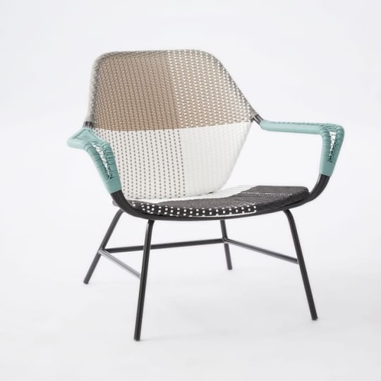 All-Weather Wicker Colorblock Woven Lounge Chair at West Elm