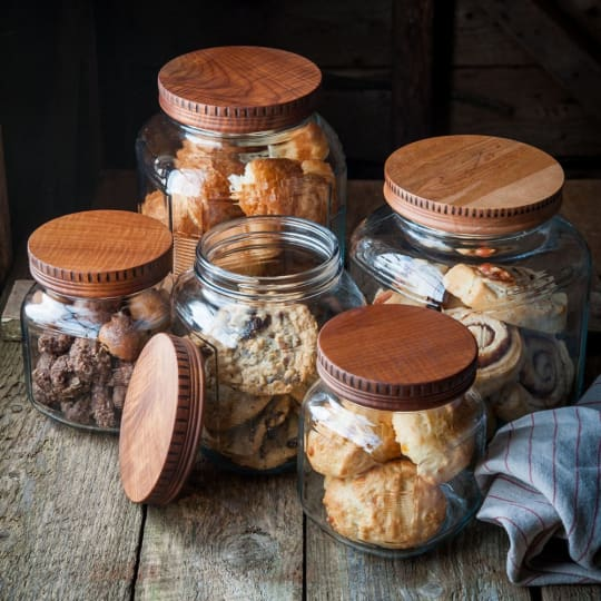 Wood Pantry Jar Lids from Cattails Woodwork