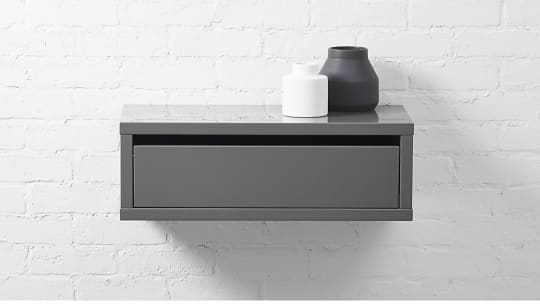 Slice Gray Wall-Mounted Storage Shelf at CB2