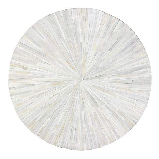 Eli Round Hairhide Rug in Ivory at Horchow