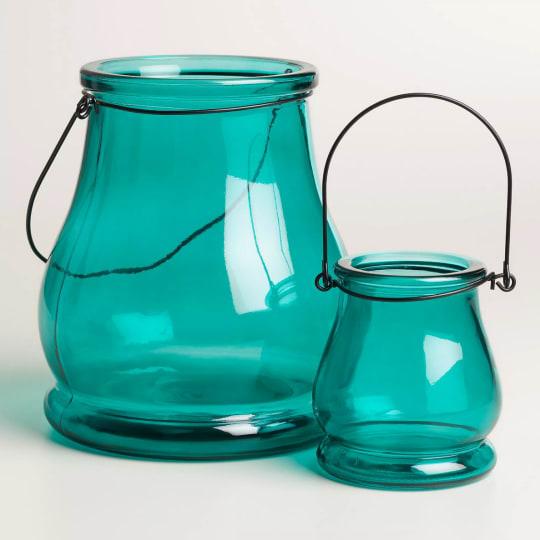 Teal Glass Teardrop Lantern Candleholder