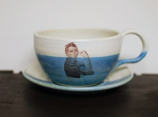 Rosie the Riveter teacup/latte mug and saucer from Melanie Harvey Pottery