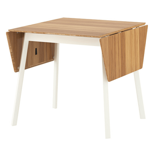 Drop-Leaf Table, Bamboo, White