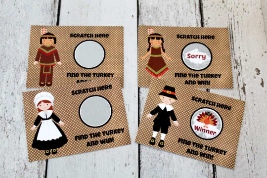 Thanksgiving Scratch-Off Ticket Game from Lemon Squeeze Designs