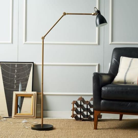 Industrial Task Floor Lamp - Black + Brass at West Elm