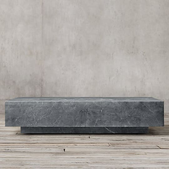 "Marble Plinth Coffee Table - 55"" Grey Marble"