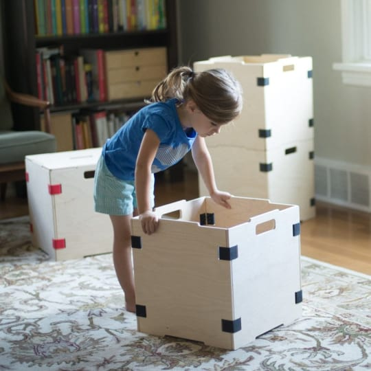 Stackable Wood Cube Storage Box