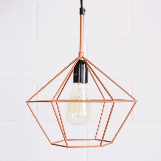 Pendant Light - Copper Tone Diamond