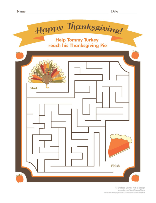 Thanksgiving Maze Game from Shalyce Elynne