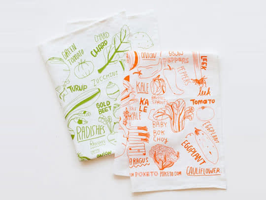 Vegetable Linen Tea Towel by Kate Bingaman-Burt for Poketo