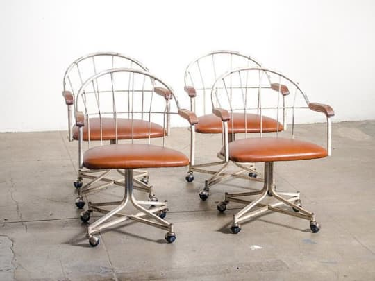 Leather & Metal Swivel Chairs by FORT