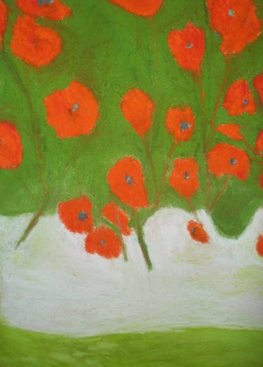Orange Poppies with Blue on Green