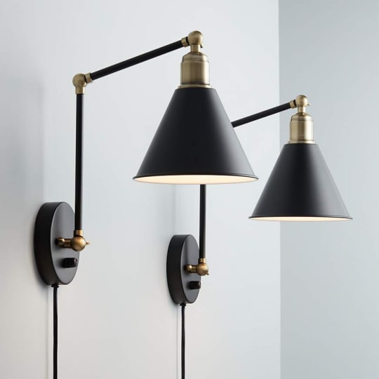 Sayner Black and Antique Brass Swing Arm Wall Lamp, Set of 2 at Lamps Plus