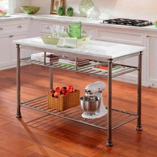 Orleans kitchen island with marble top