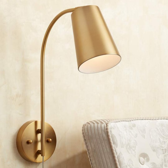 Sully Warm Brass Plug-In Wall Lamp at Lamps Plus