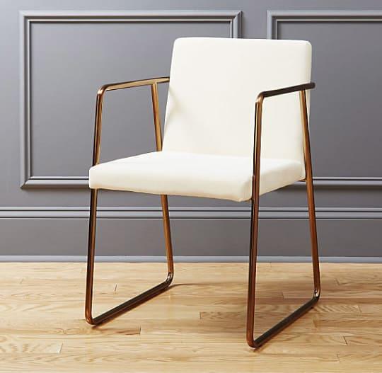 Rouka White Velvet Chair at CB2