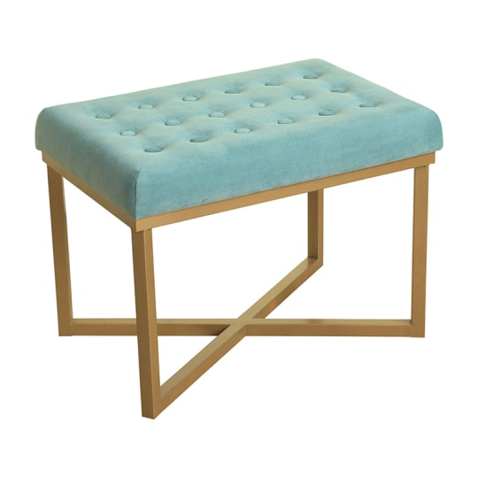 Rectangle Ottoman Velvet Tufted Cushion And Gold Metal X Base In Blue At  Target