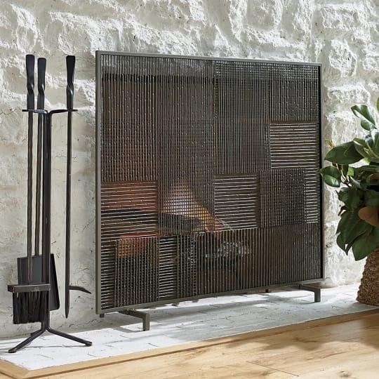Ansel Plaid Fireplace Screen