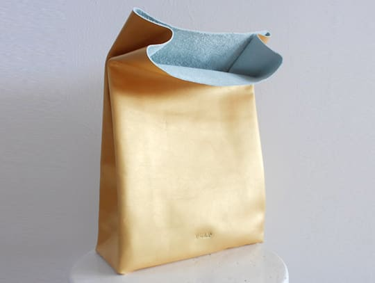 Gold Leather Lunch Bag by Pulp