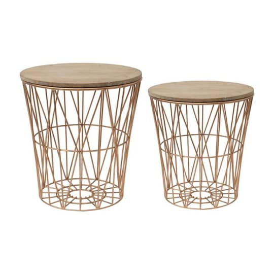 Metal Baskets with Wood Lid
