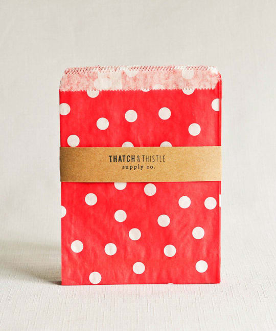 Red Polka Dot Favor Bags from Thatch & Thistle Supply Co.