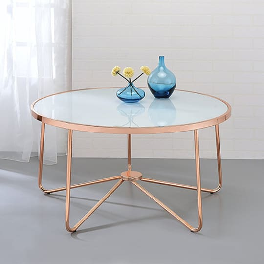ACME Alivia Frosted Glass Coffee Table in Rose Gold