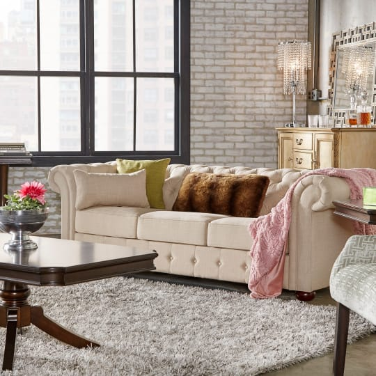 Knightsbridge Beige Linen Tufted Scroll Arm Chesterfield Sofa at Overstock