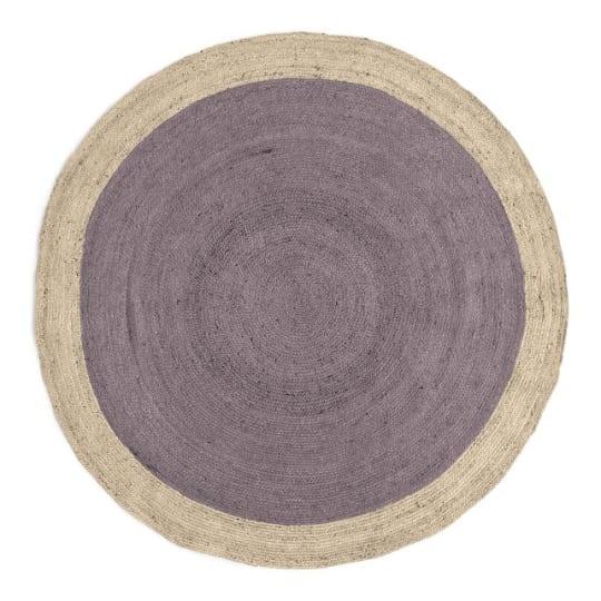 SPO Bordered Round Jute Rug in Dark Iris at West Elm
