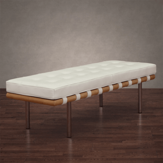 Andalucia Modern White Leather Bench at Overstock