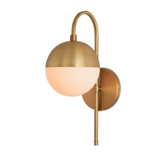 Powell Wall Sconce with Hooded White Globe, Aged Brass at Lights.com