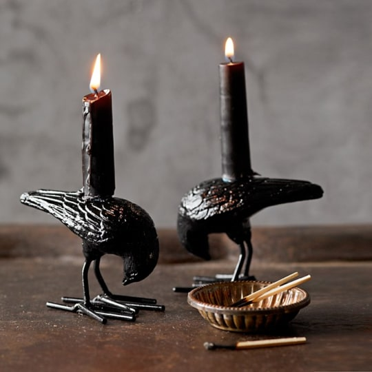 Halloween Raven Tiny Taper Holders from Williams-Sonoma