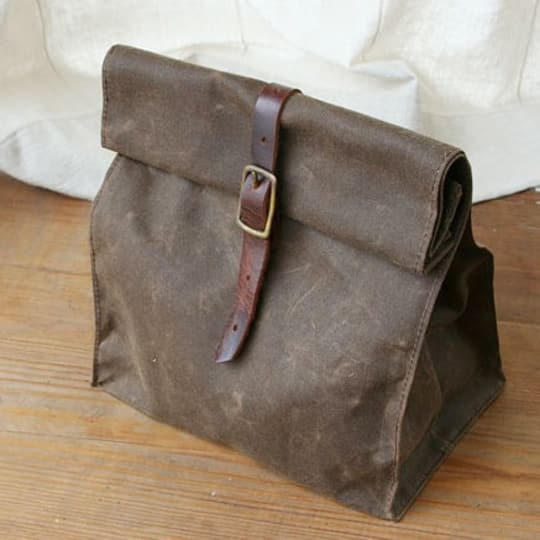 Waxed Canvas Lunch Bag from Overlap Studio