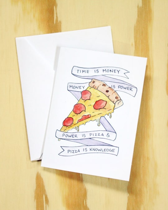 Pizza Is Knowledge - Parks & Recreation Inspired Card from Dear Ollie