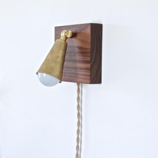 ninosheadesign Walnut and Brass Wall Lamp
