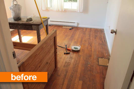 Before Amp After A Worn Out Wooden Floor Gets A Painted Finish