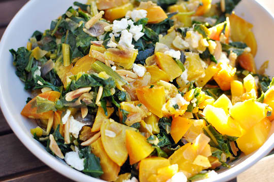 Recipe Warm Golden Beet Salad With Greens And Almonds
