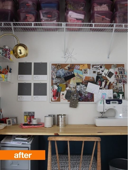 My Workspace In My Last Apartment Was A Craft Cabinet, So A Closet Was A  Step Up. I Painted The Bottom Portion Of The Wall With Leftover Paint And  Built A ...