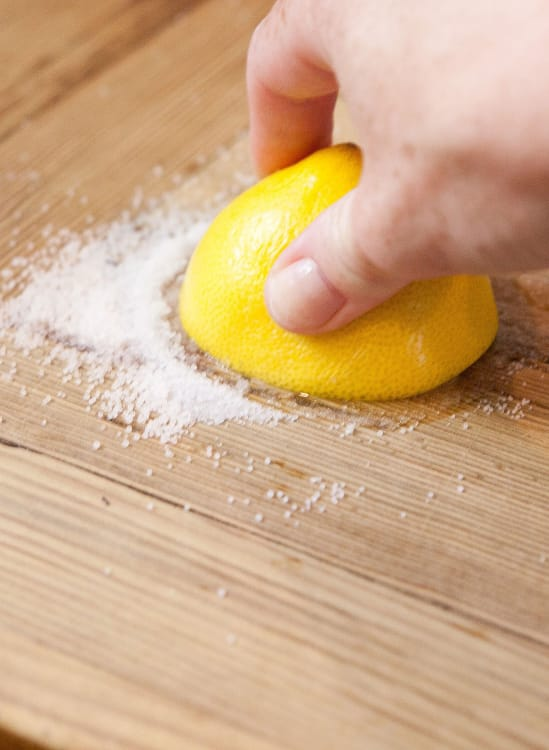 how to clean a wooden cutting board with lemon and salt kitchn