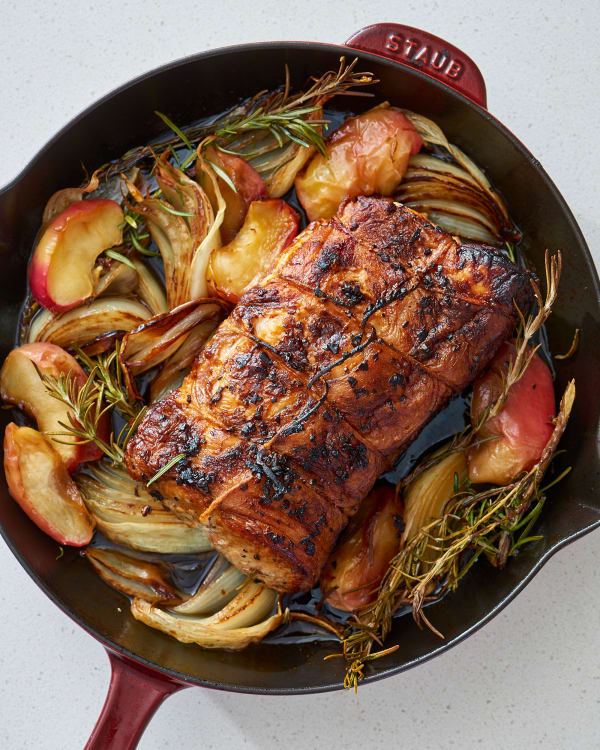 How To Make A Juicy Pork Roast With Apples And Onions Kitchn