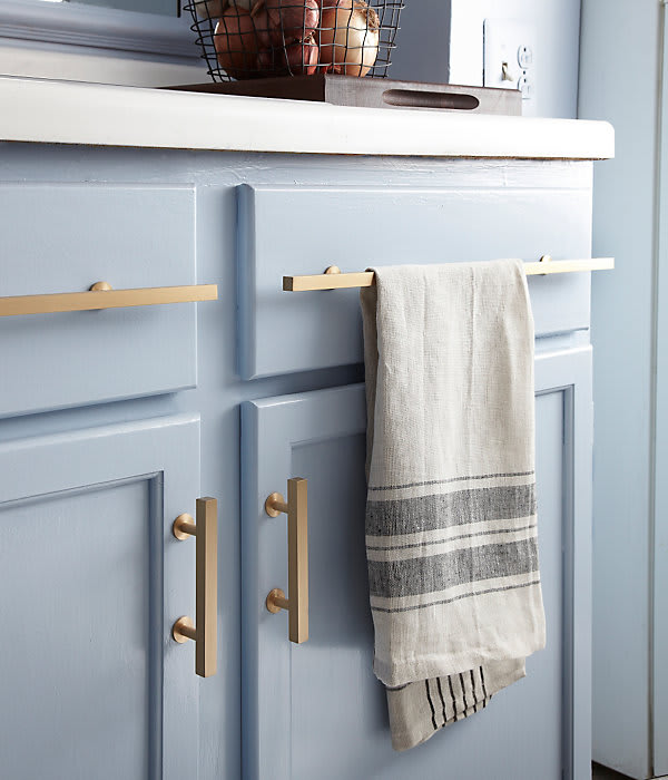 Kitchen Shelf Inspiration: Kitchen Details: Brushed Brass Cabinet Pulls Against Light