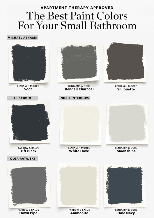Paint Colors For A Black And White Bathroom best paint colors for small bathrooms | apartment therapy