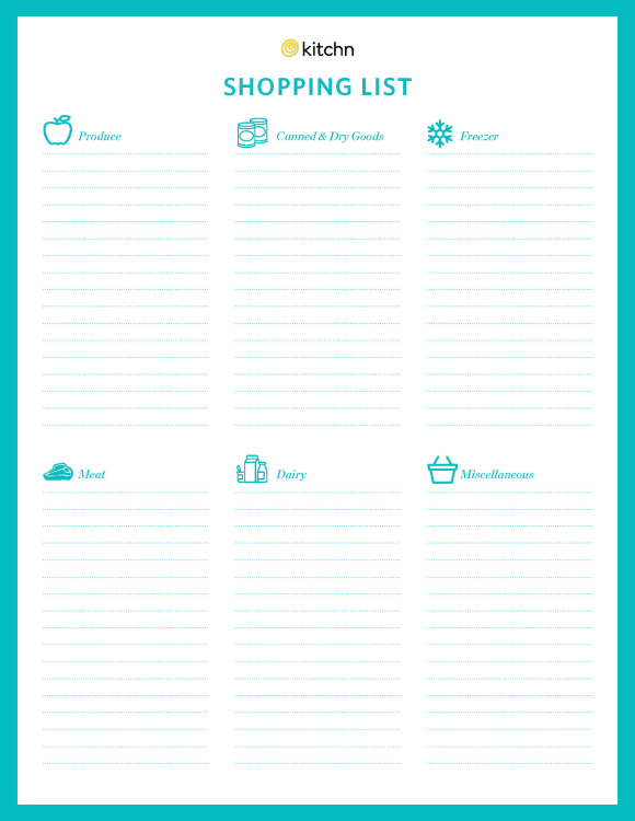 Shopping List | Download Our Free Printable Grocery Shopping List Kitchn