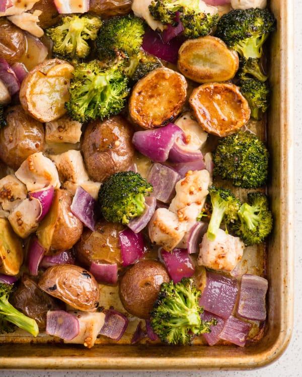 sheet pan honey dijon chicken and vegetables kitchn