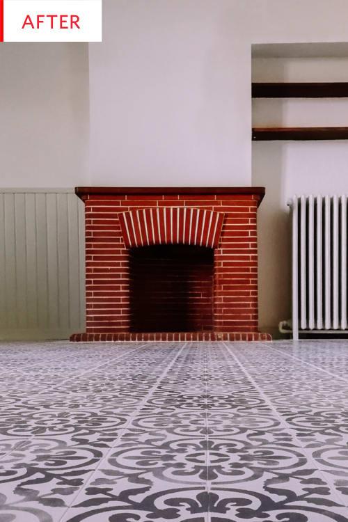 Stencil Pattern Floor Tile Paint Before After Photos Apartment