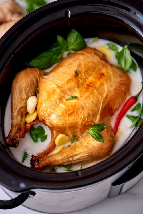 How To Cook A Whole Chicken In Coconut Milk In The Slow Cooker Kitchn