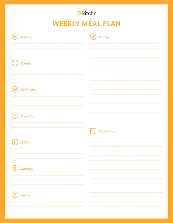 Kitchn\'s Meal Plan Template | Kitchn