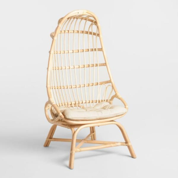 8. Natural Rattan Fallon Cocoon Chair With Cushion