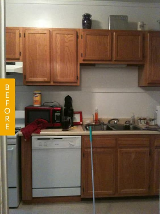 image kitchen cabinet before amp after a rental kitchen gets a landlord friendly 1808