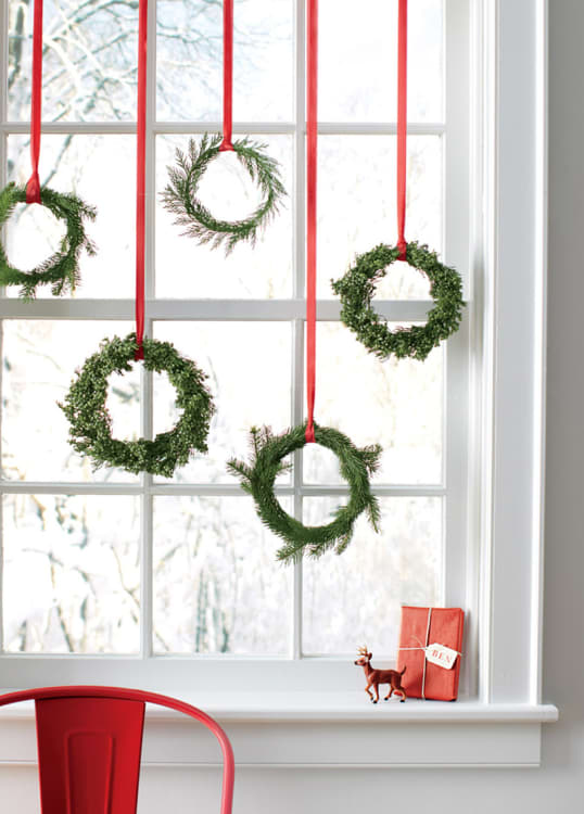 small on space big on style 9 ideas for small scale holiday decorating apartment therapy - Large Window Christmas Decorating Ideas