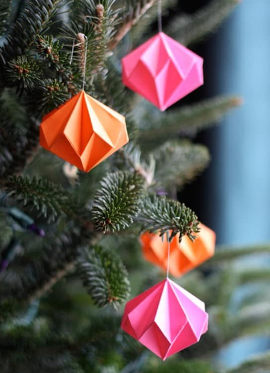 origami christmas ornaments apartment therapy - Handmade Paper Christmas Decorations